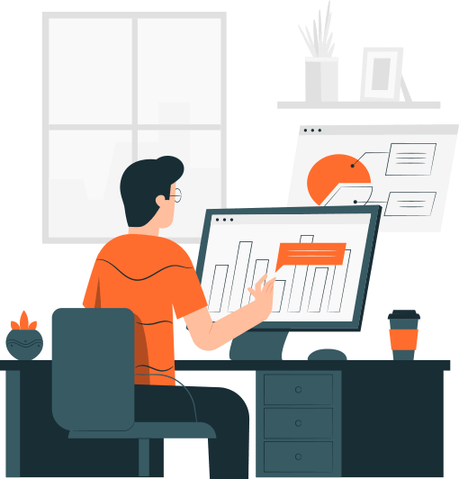 Cartoon Person in orange shirt looking at a bar chart on a monitor.