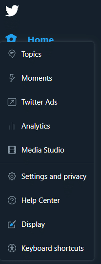 Twitter Home Menu on Desktop Showing The Analytics Tab