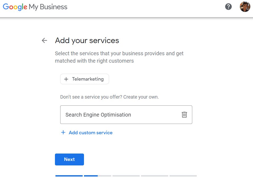 Add Business Services Selection with Custom Text Entered Search Engine Optimisation