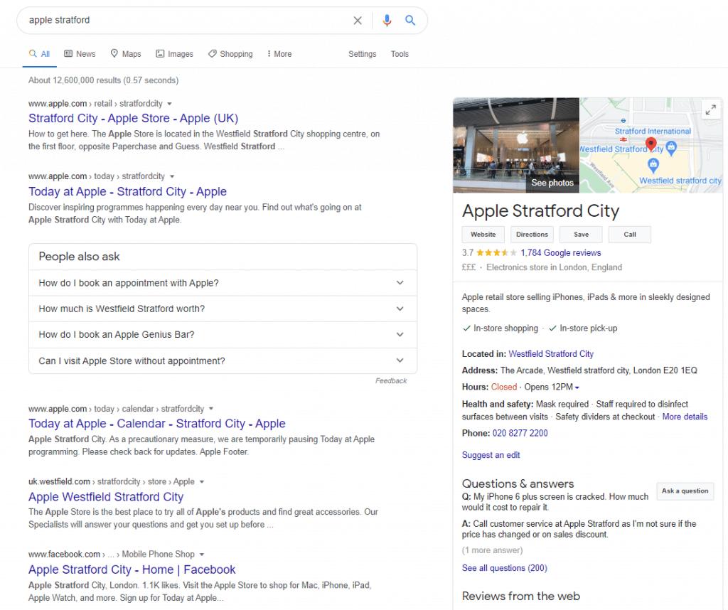 Apple Westfield Stratford Google My Business Listing