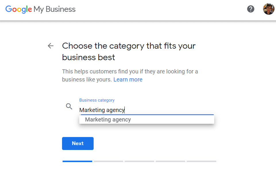 Google My Business Slide with dropdown asking to Select Business Category and category selected as Marketing Agency.