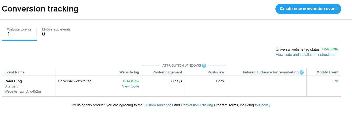 Twitter Analytics Conversion Tag