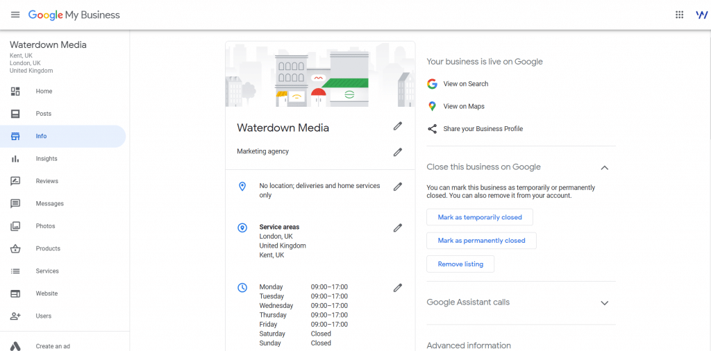 Waterdown Media Info Tab Showing our category as a marketing agency, our service areas as London and the rest of the UK, and our Monday-Friday 9-5 Opening Hours.